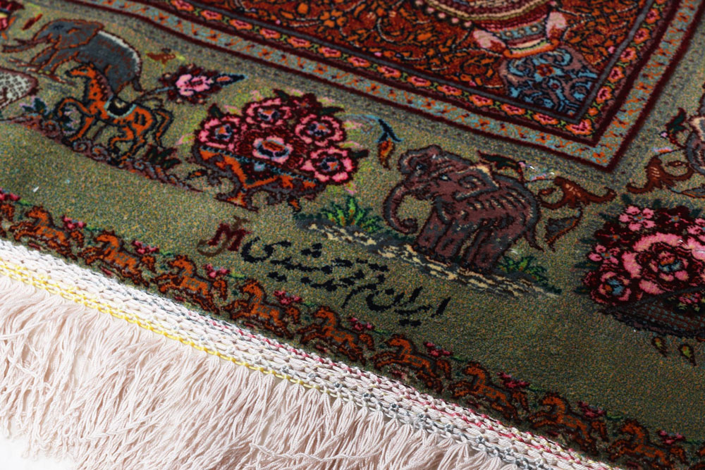 Signature of the master knotter Jamshidi on a silk rug