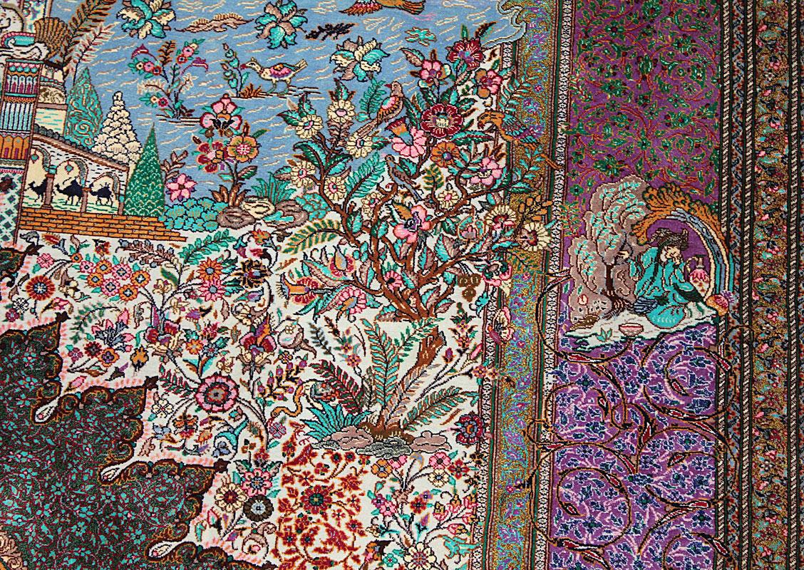 Qom silk carpet from Jamshidi