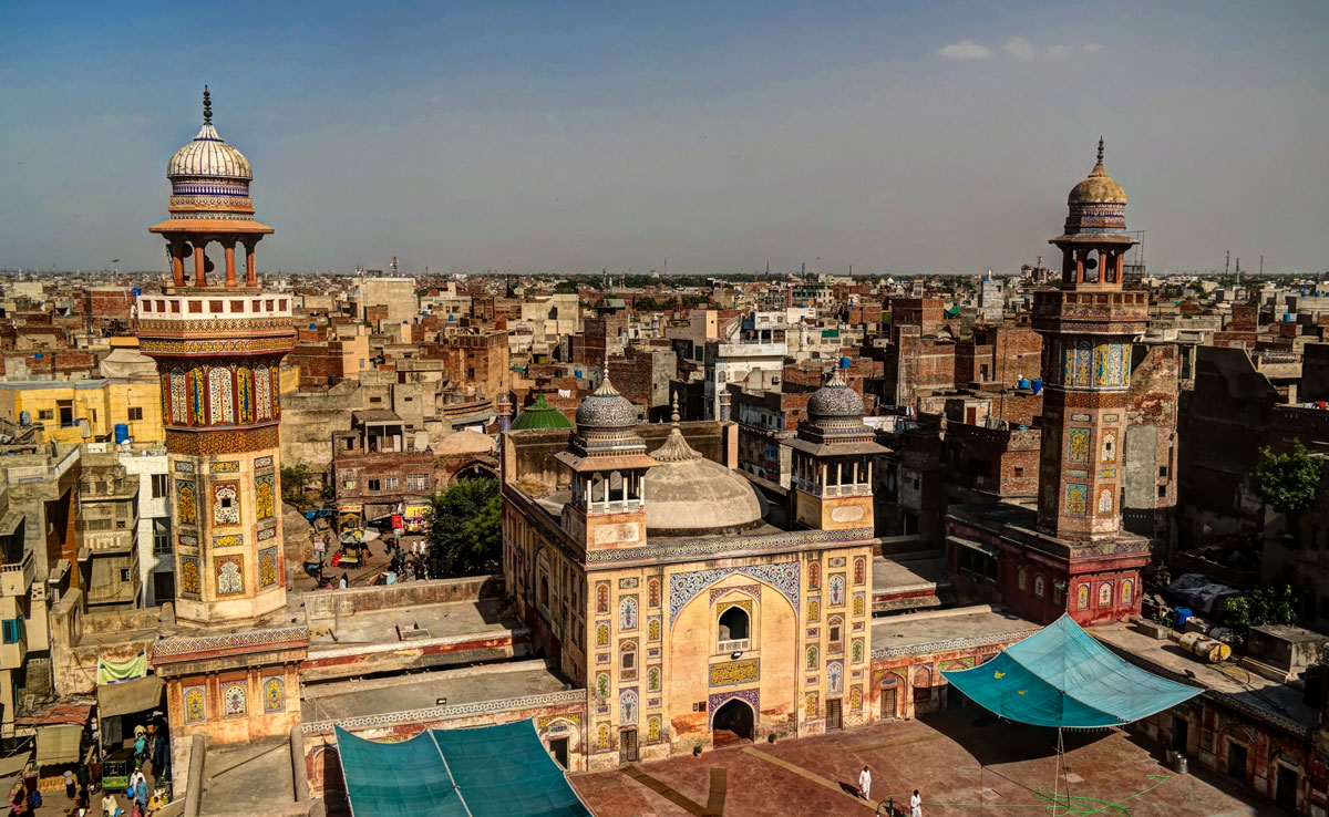 Panorama of the Wazir Khan Mosque in Lahore, Pakistan